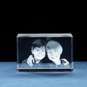 Foto in Glas - Blok 3D met 2 portretten