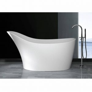 Vrijstaand Bad Luca Sanitair Vasca 170x70x63 cm Verhoogde Rugzijde Solid Surface Glans Wit Luca